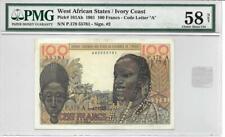 West African States-Ivory Coast 1961 100 Francs P101Ab PMG 58 Net