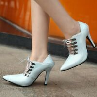 Fashion Womens Pointed Toe Lace Up Low Top Stilettos Slim High Heels Ankle Shoes