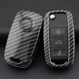 For VW 2008-2020 Carbon Fiber Hard Flip Key Fob Case Shell Cover Accessories