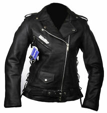 Biker moto chaqueta cazadora CUSTOM PIEL MUJERES cuero S M 40 42 black