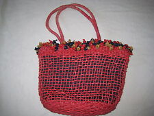 DENTS 1777 red corn husk medium bag with cotton drawstring lining + wooden beads