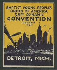 """USA 1929 Detroit Baptist """"Zeppelin"""" Poster Label"""