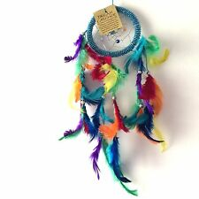 NEW MULTI COLOUR RAINBOW FEATHER DREAM CATCHER NATIVE AMERICAN HANGING MOBILE
