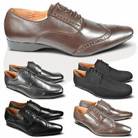 Mens Lace Up Pointed Toe Smart Leather Lined Wedding Dress Formal Shoes Size UK