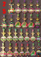 25 Hard Rock Cafe 2004 CHRISTMAS Ornament GUITAR PIN LOT! Collection Group NEW!