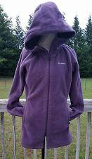 Columbia Purple Hooded Long Fleece Jacket Coat Size Large Women's GUC