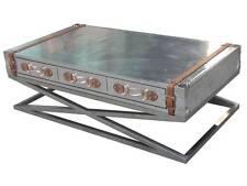 Table basse spilsby aluminium inox vintage 6 tiroirs table Industry NEUF