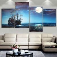 4pcs casa moderna mare nave tela stampa pittura foto parete Art Decor senza