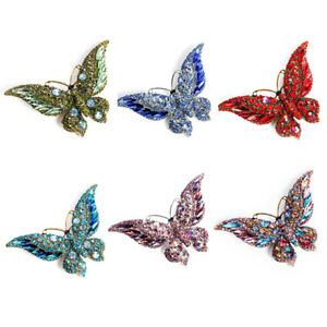 Schmetterlingsbrosche Luxus Kristall Pin für Frauen Party Bankett Strass PinsXDM