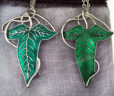 SILVER VEIN Elven Leaf Brooch 2 Necklace SET Hobbit LOTR Lord of The Rings