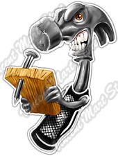 """Angry Hammer Construction Carpenter Handy Car Bumper Vinyl Sticker Decal 4""""X5"""""""
