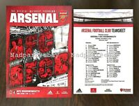 Arsenal v Bournemouth Premier League Programme + Team Sheet 2019 October 6/10/19