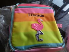 Pottery Barn Kids Fairfax Pink rainbow aqua trim flamingo Lunch Bag mono Hamada