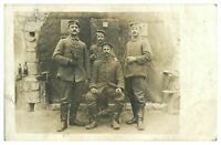 Antique WW1 military RPPC postcard portrait 4 German soldiers smoking drinking