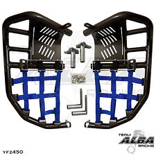 Yamaha YFZ 450  Nerf Bars  Pro Peg Heel Gaurds  Alba Racing Black Blue 199 T7 BL