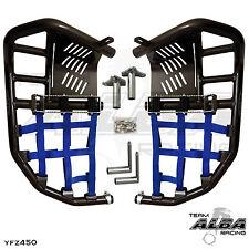 Yamaha YFZ 450  Nerf Bars  Pro Peg Heel Gaurds  Alba Racing Black Blue 199 T7 BL
