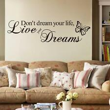 Wall Mural Decal Sticker BUTTERFLY LIVE YOUR DREAMS Room Quote Black UK