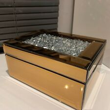 JEWEL DIAMANTE Copper GLASS MIRRORED JEWELLERY BOX TRINKET KEEPSAKE CHEST BOX