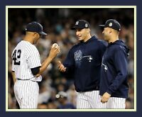 Mo Rivera Final Game Handoff Jeter Pettitte 11x14 Dbl Mtd Photo 8x10 Print