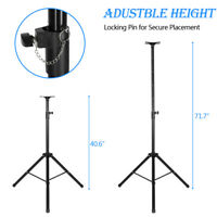 """Pair Pro Tripod DJ PA Speaker Stands Adjustable Height 47"""" -72"""" W/ Carry Bag"""