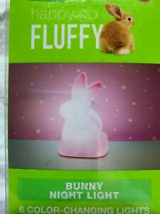 Happy Go Fluffy Pink Easter Bunny Rabbit Night Light Color Changing New