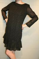 M Vtg 80s Tiered Ruffle Hem Shift Dress Carole Little 8 Abstract  Black Camel