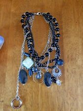 Black and Silver Charm Statement Necklace Resin Wood Metal