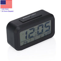 Digital Travel Alarm Clock LED Light Desk Snooze Date Time Thermometer Display