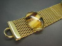 Vintage GOLD TONE METAL MESH BRACELET Fabulous FAUX AGATE STONE GLASS CABS