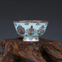 Chinese Qianlong old antique Porcelain famille rose 8 auspicious symbols bowl