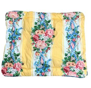 Croscill Princess Single Standard Size Sham Yellow Pink Roses Blue Floral