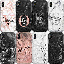 Personalised Initials Phone Case Marble Hard Cover For Apple iphone 7 8 X Xs 11