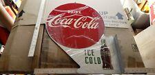 VINTAGE  Drink Coca Cola ice cold Flange METAL SIGN A