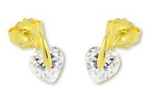 VASCAYA Damen Kinder Ohrstecker Ohrring Herz Zirkonia weiß Gold 333 Geschenk