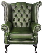 Antique Green Chesterfield 100% Genuine Leather Queen Anne High Back Armchair