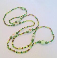 Vintage Long Multi Color Green Beaded Necklace