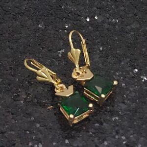 18K Gold Filled Stunning Italian Russian Diopside 18ct GF Drop Earrings 30mm