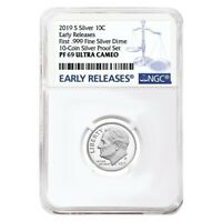 2019 S Proof Silver Roosevelt Dime First .999 Fine Silver NGC PF 69 ER