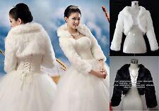 New White/Ivory/Black Faux Fur Wedding Wrap/Jacket/Shawl/Bolero S, M/L, XL, XXL