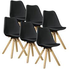 [en.casa] 6x Chaises de design noir chaise du bois plastique cuir-synthétique