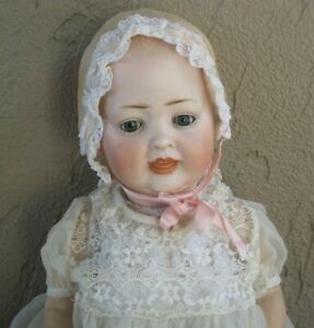 "Antique German Kley & Hahn 158-12 Solid Dome Bisque Head Doll 20"" tall #L12"
