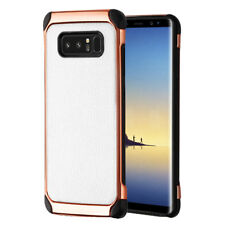 SAMSUNG GALAXY NOTE 8 WHITE ROSE GOLD LEATHER TEXTURE IMPACT RUGGED CASE COVER