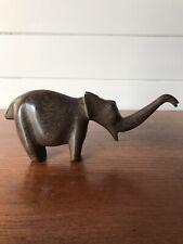 Vintage Solid Wood Carved Elephant Trunk Up Good Luck