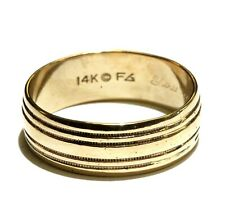 14k yellow gold mens 3.8mm wedding band ring 4g gents vintage