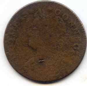 1787 Connecticut Copper, Draped bust facing left