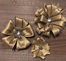 Primitive Vintage Gold Fabric Flower Wedding Shabby Chic Bridal Cake Baby Set 3