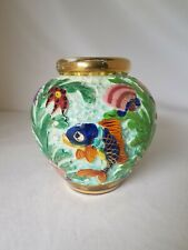 Vase Boule CERDAZUR Céramique ou Faïence de MONACO 121 DPS Décor Relief Poisson