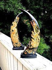 Asian Carved Dragon & Bird Horns Set Rhinestone Eyes