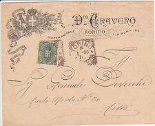 REGNO-5c(59)-Busta pubblicitaria privata viaggiata Torino x città 6.1.1896