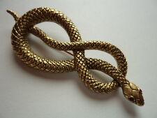 """VINTAGE FIRMATO JJ """"Oro Antico Peltro Twisted Serpente"""" SPILLA / Pin"""